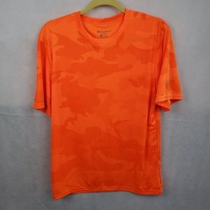 Champion Orange Camouflage Short Sleeve Shirt Sz M